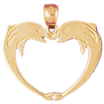 14k gold two dolphins heart designer pendant