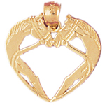 14k gold two horses heart designer pendant