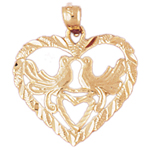 14k gold two doves heart designer pendant