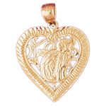 14k gold kitty in heart pendant