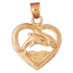 14k gold dolphin in heart pendant