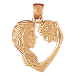 14k gold mother holding baby heart pendant