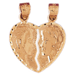 14k gold breakable romeo and joliet heart pendant