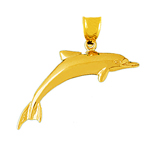 14 karat gold swimming dolphin pendant
