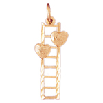 14k gold two hearts with ladder charm
