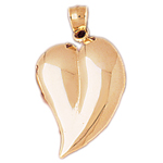 14 karat gold floating heart pendant