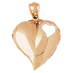 14k gold floating heart with open heart pendant