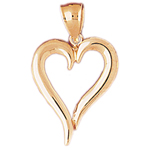 14k gold beveled floating heart pendant