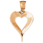 14kt gold floating heart pendant