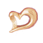 14k gold floating heart slide
