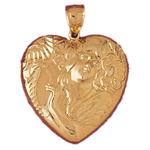 14k gold goddess of love heart pendant