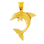 14k gold 32mm dolphin pendant