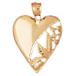 14k gold leaf heart pendant