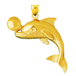 14k gold dolphin playing with ball pendant