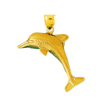 14k gold 35mm dolphin pendant