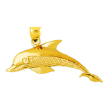 14k gold 44mm dolphin pendant