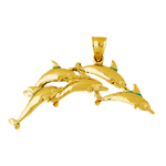 14k gold quintet arch of five dolphins pendant