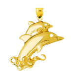 14k gold calf and dolphin coming out of water pendant