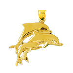 14k gold triple dolphins traveling pendant