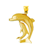 14k gold dolphin and calf pendant