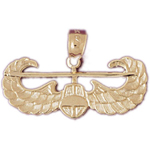 14k gold helicopter with wings charm pendant