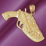 14k gold gun in holster charm pendant