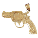 14k gold firearm revolver gun pendant