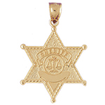 14k gold sheriff badge charm pendant