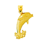 14k gold dolphin jumping out of water pendant