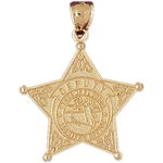 14k gold state of florida sheriff deputy badge pendant