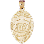 14k gold justice department badge charm pendant