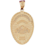 14k gold police officer badge charm pendant