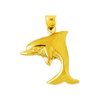 14k gold 16mm dolphin pendant