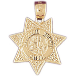 14k gold california highway patrol badge charm pendant