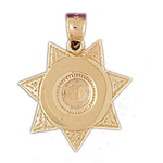 14k gold engraveable sheriff badge charm pendant