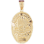 14k gold inglewood police officer badge charm pendant