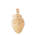 14k gold los angeles fd badge charm pendant