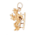 14k gold fireman ladder charm