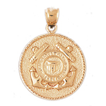 14k gold us coast guard charm pendant