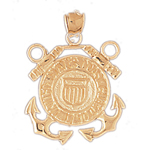 14k gold us coast guard armed forces charm pendant