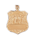 14k gold engravable badge charm pendant