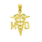 14k gold md caduceus charm