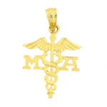 14k gold medical assistant ma caduceus charm