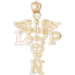14k gold lpn licensed practical nursing pendant