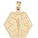 14k gold star of life with rod of asclepius charm