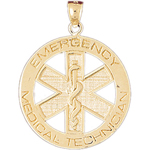 14k gold emergency medical technician pendant