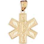 14k gold star of life with rod of asclepius pendant