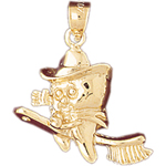 14k gold tooth sitting on toothbrush charm