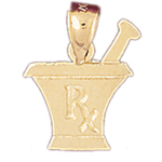 14k gold rx medical prescription charm