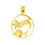 14k gold dolphin with seashell and starfish pendant